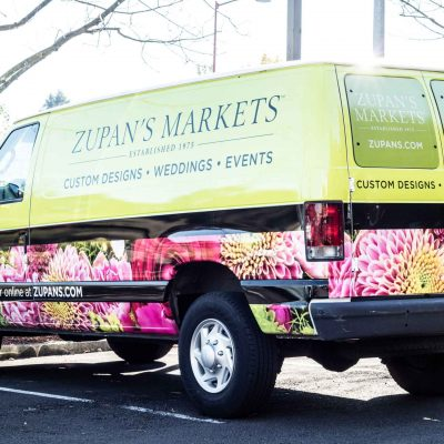 Portland's Zupan's Markets' brightly colored delivery van.