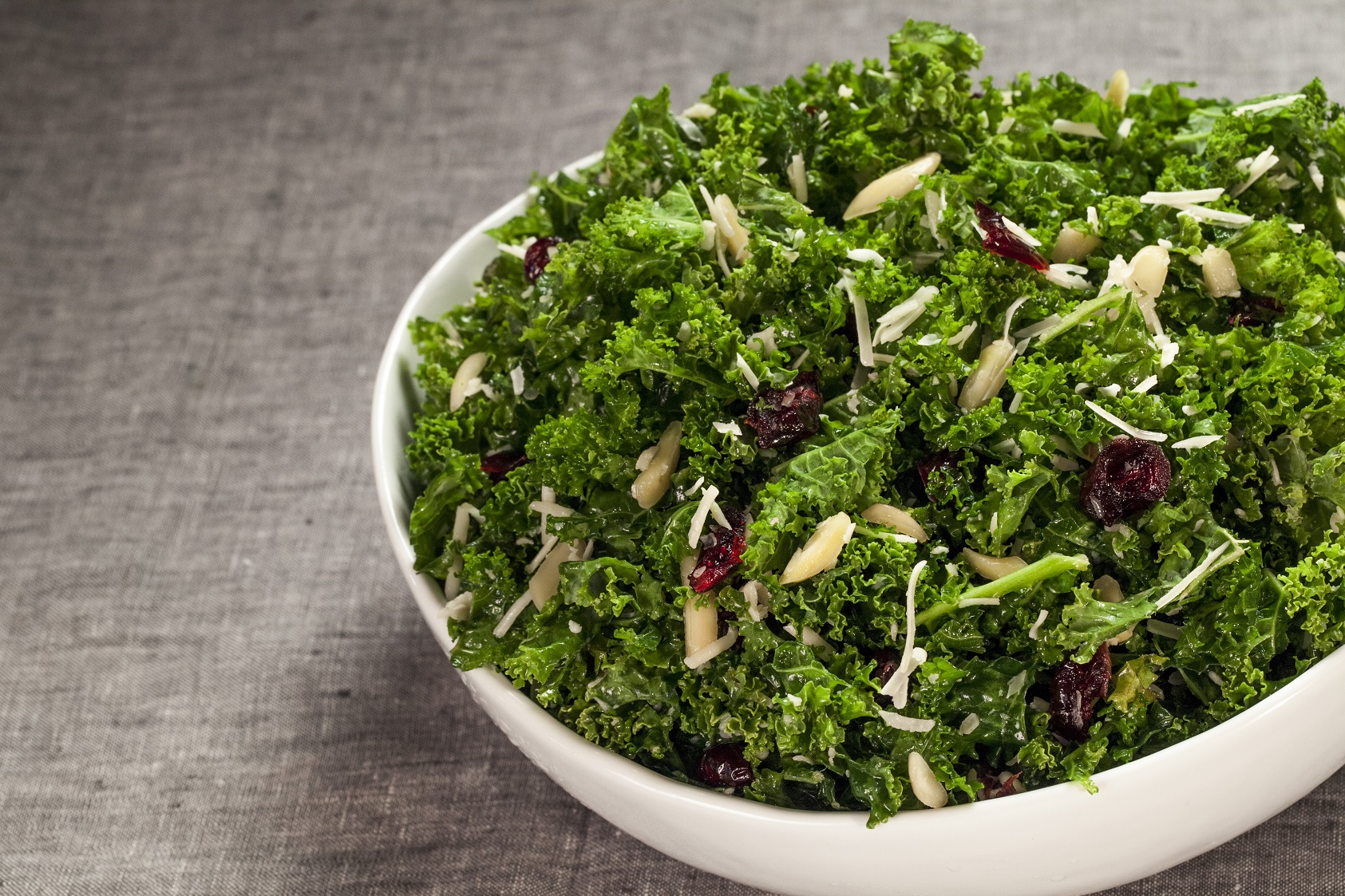 cranberry, almond, kale salad