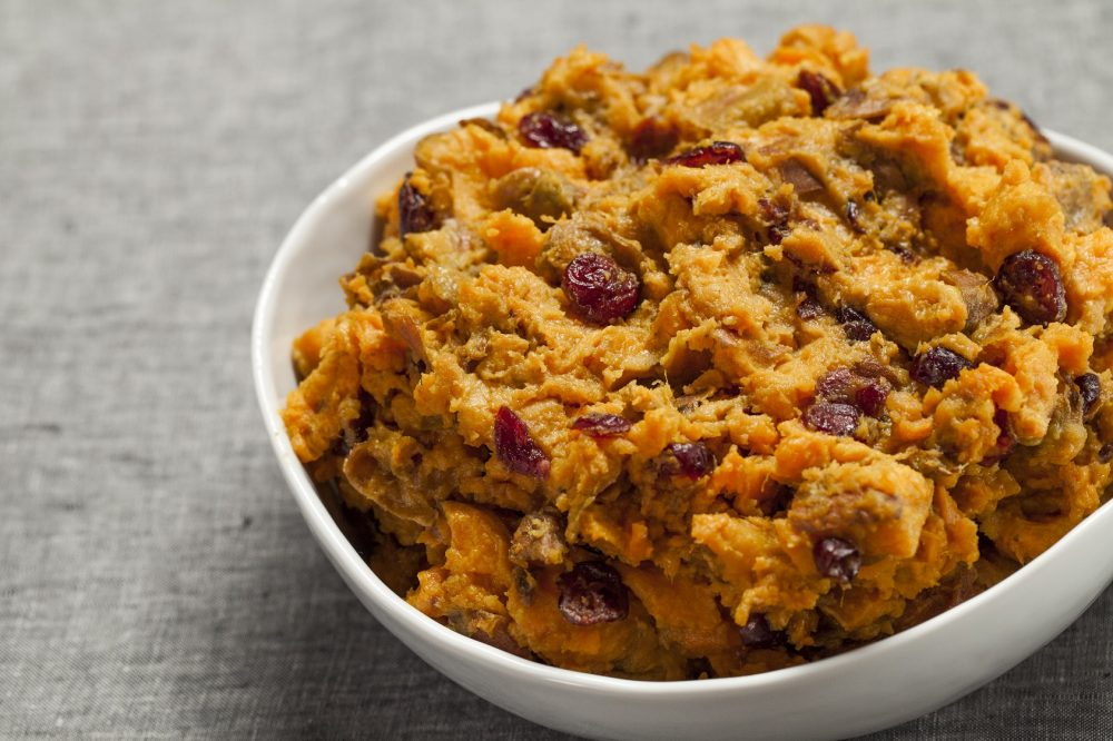mashed yams with cranberries