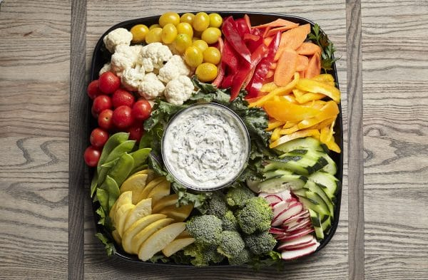 raw vegetable catering tray from Zupans