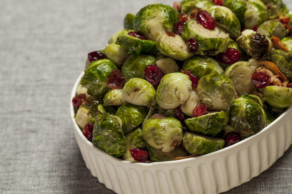Rosted brussel sprouts, bacon and cranberries