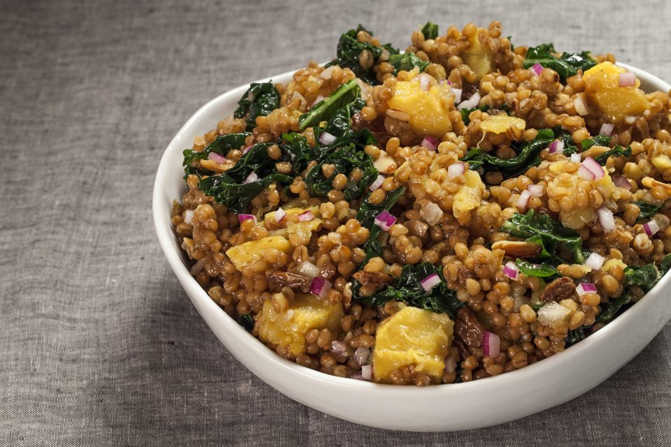 Wheatberry salad with kale