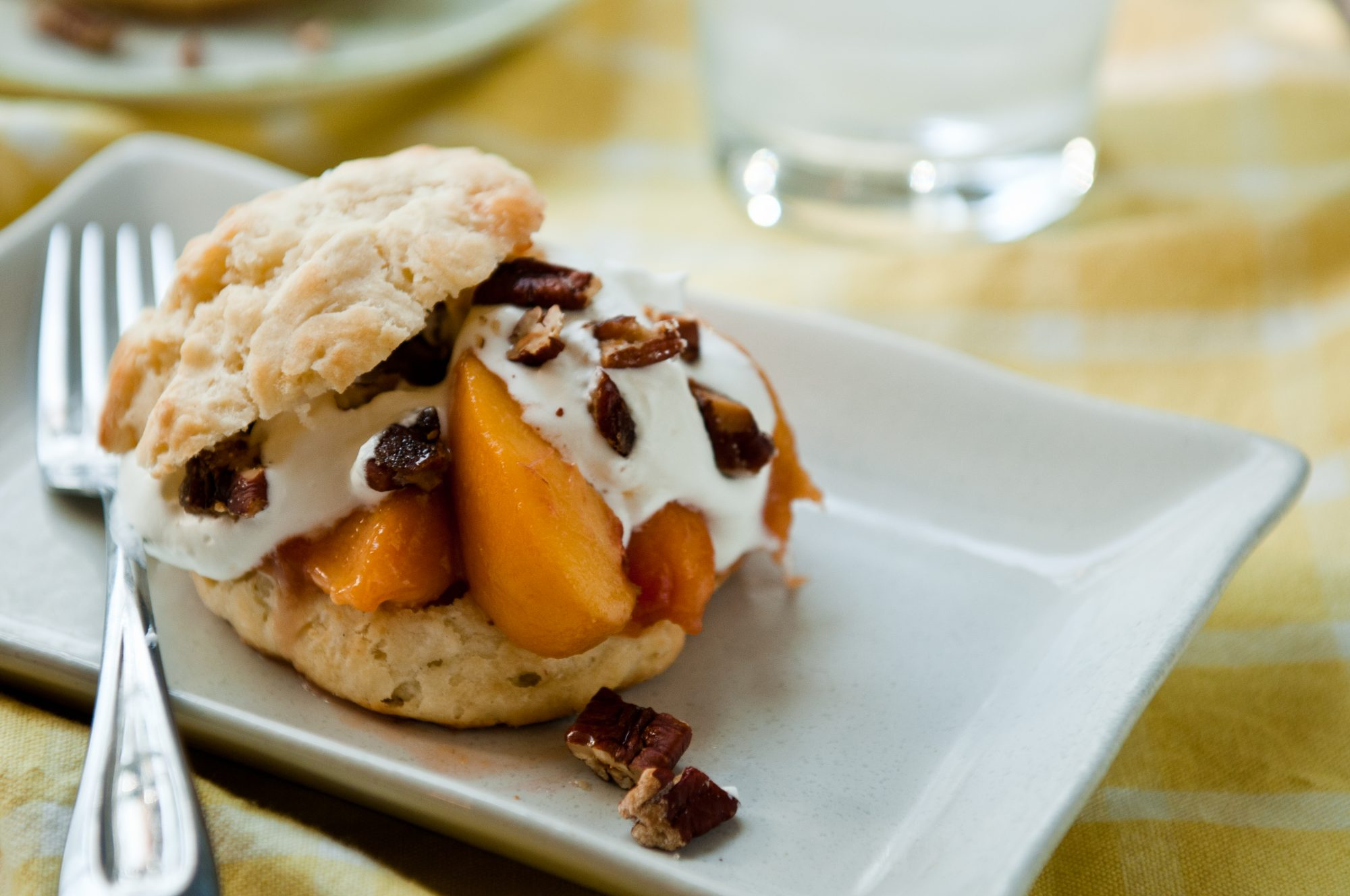 Bourbon-Peach Shortcakes with Glazed Pecans