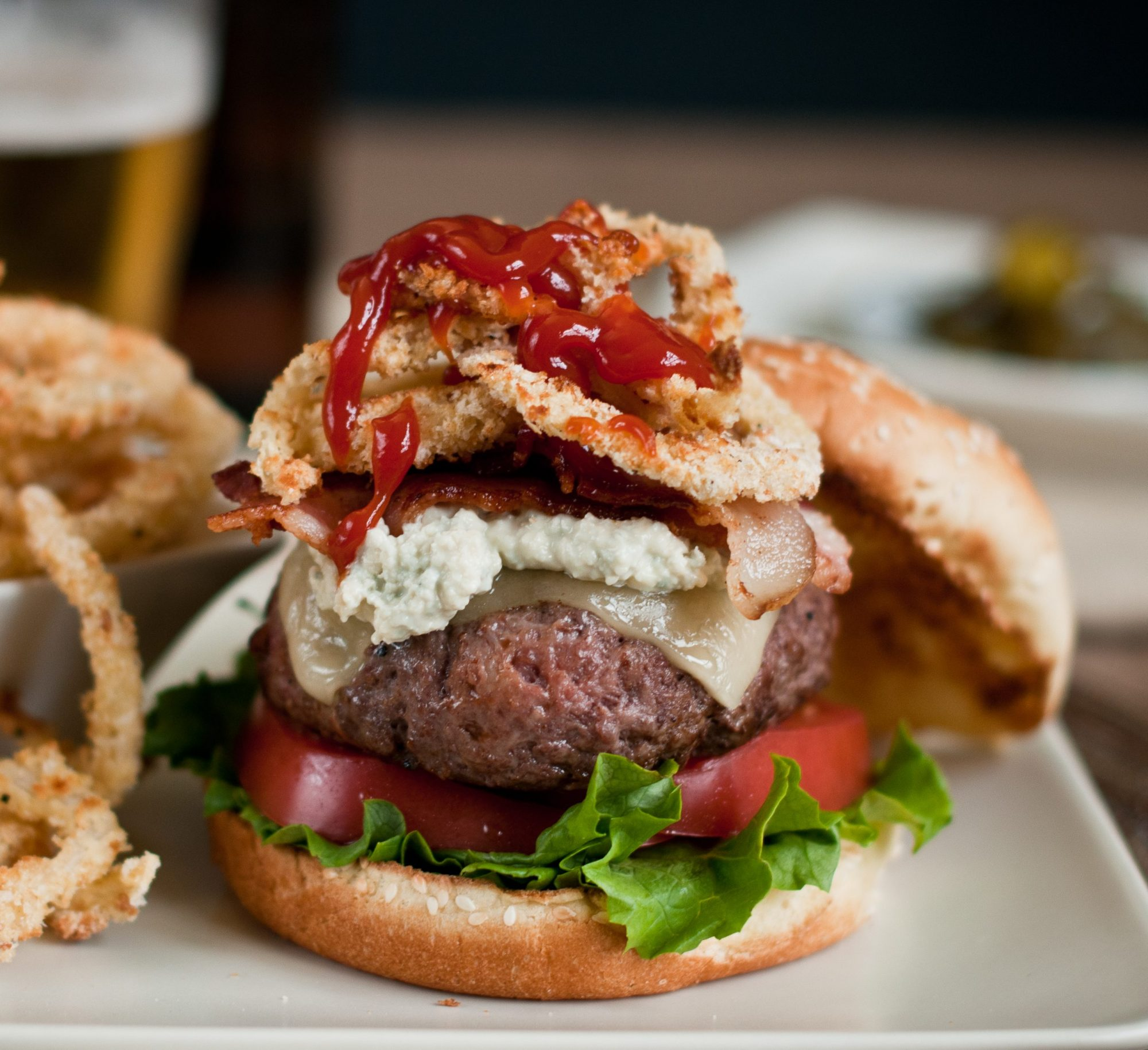 Bacon burger with blue cheese sauce