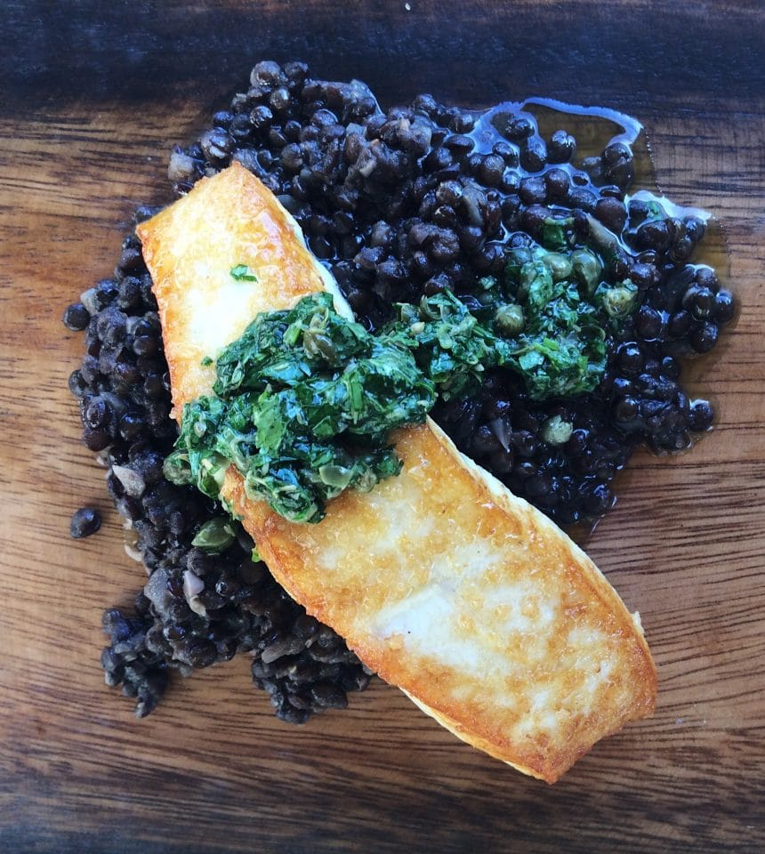 Seared Halibut with Beluga Lentils and Salsa Verde