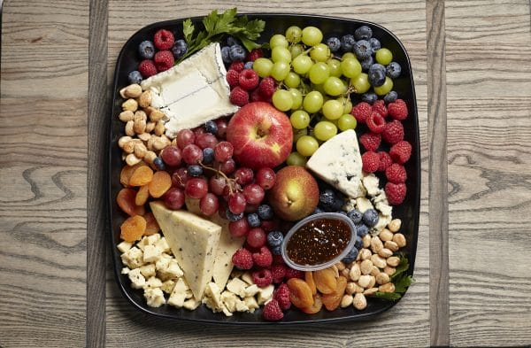 local cheese and fruit catering tray from Zupans