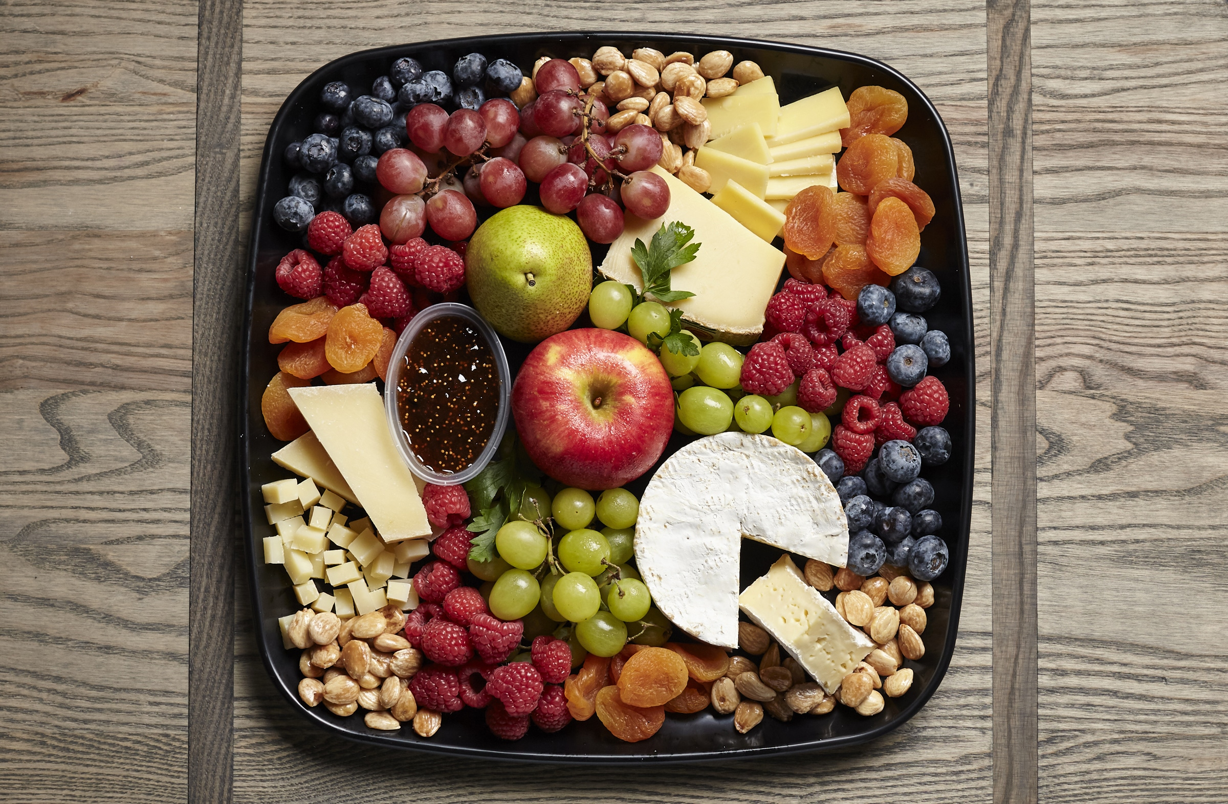 cheese fruit and nut catering tray from Zupans