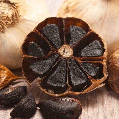 Close-up of caramelized flesh of black garlic