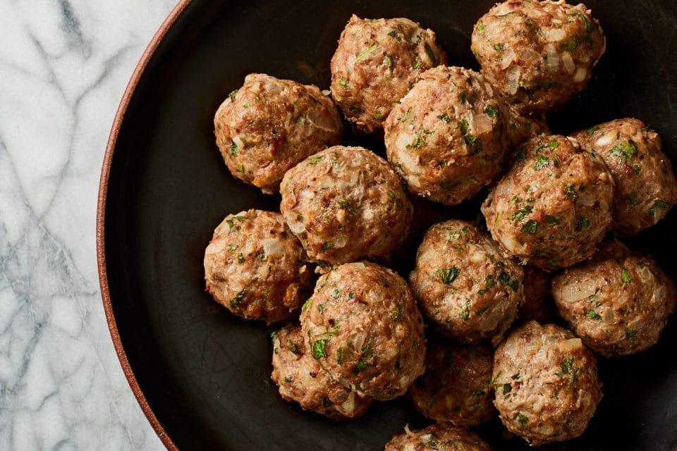 Several veal lamb meatballs