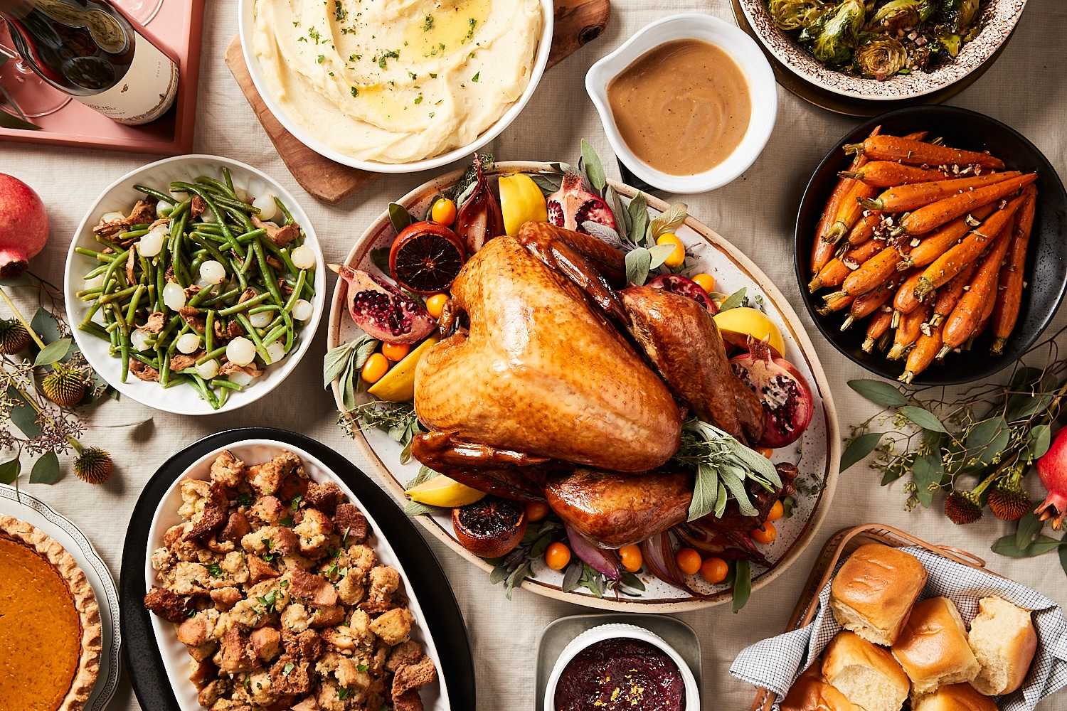 table full of Thanksgiving dishes from Zupan's Markets