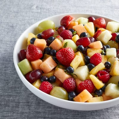 Fruit Salad with Honey Lime Mint Dressing