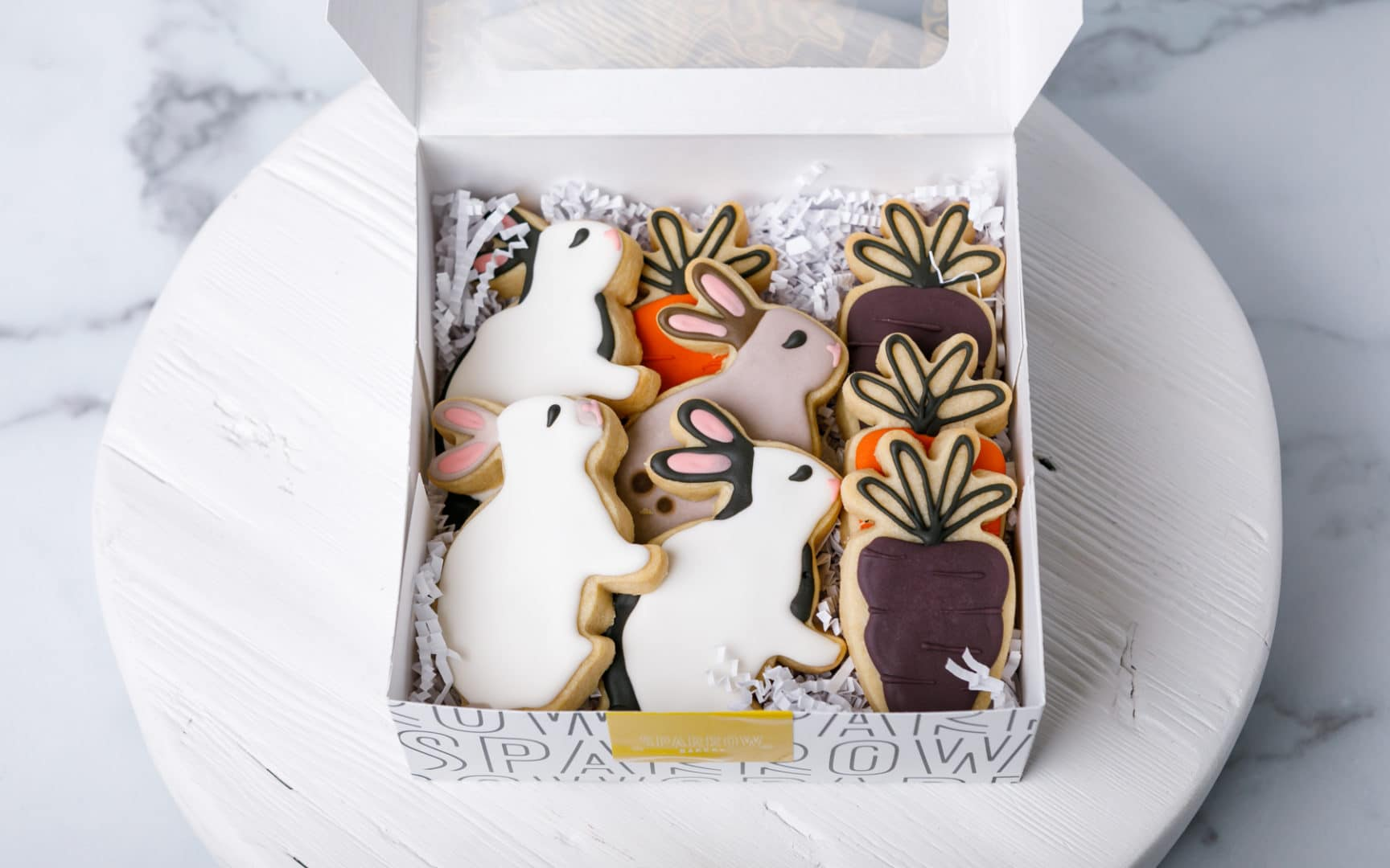 box of bunny and carrot shaped cookies for Easter from Zupan's Markets bakery