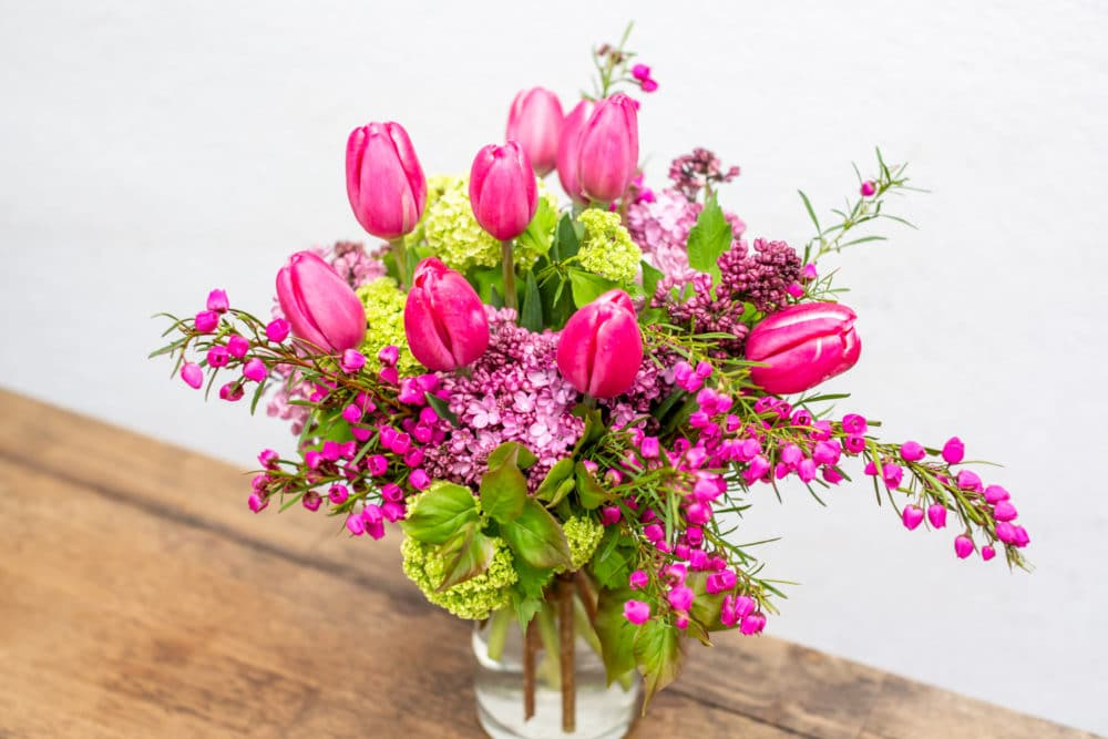 Mother's Day floral arrangement with tulips, boronia & viburnum