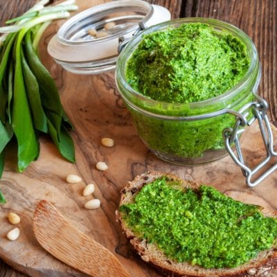 Pesto made out of ramps and leeks