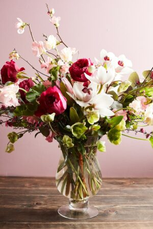 beautiful Zupan's Markets Valentine's Day peony bouquet in a glass vase