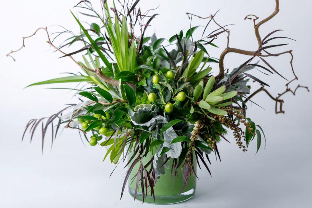 Green floral arrangement from Zupan's Markets