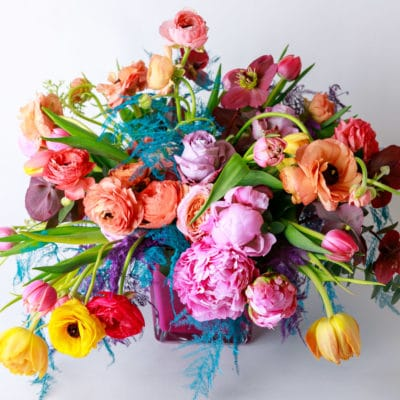 rainbow bouquet of flowers from Zupan's Markets