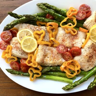 Baked Halibut with Spring Vegetables