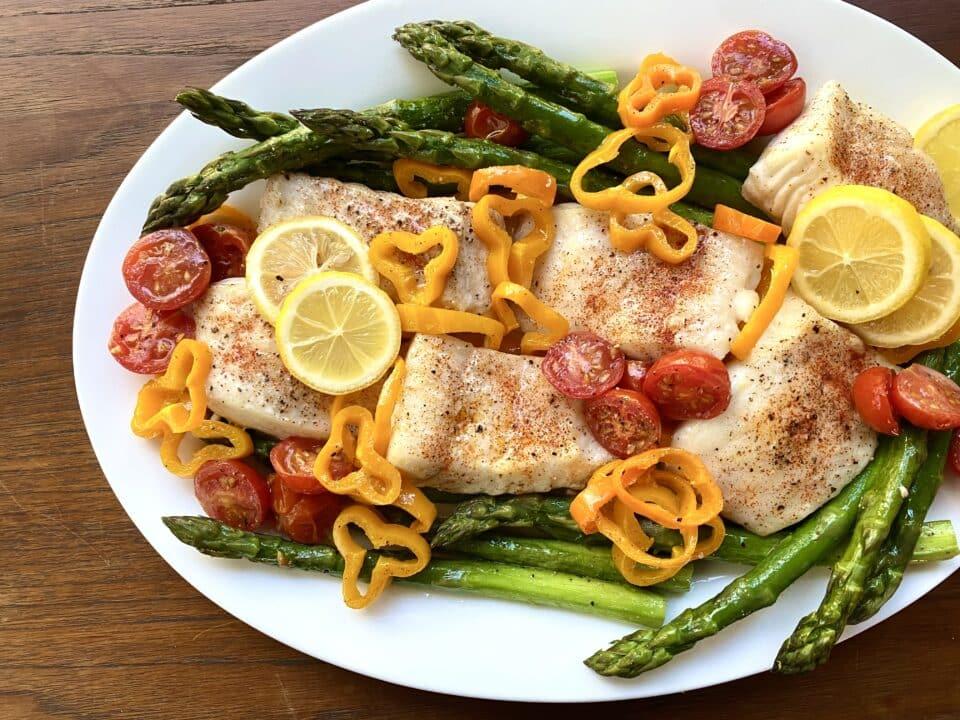 Baked Halibut with Spring Vegetables