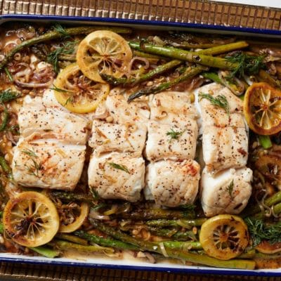 halibut and asparagus dinner from Zupan's Markets