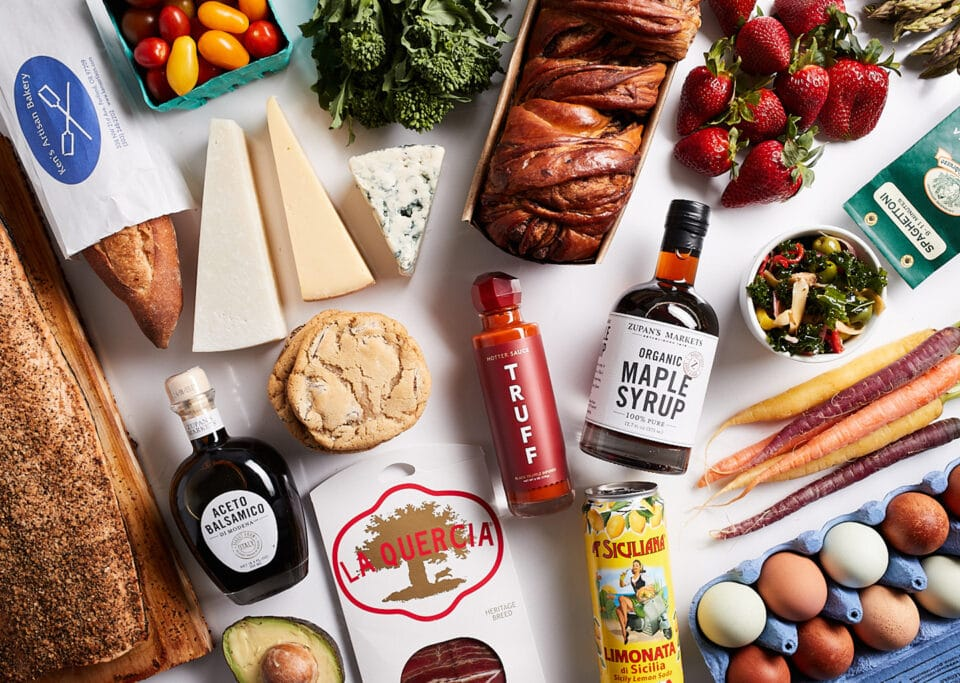 photo of gourmet foods on a table from Zupan;s markets