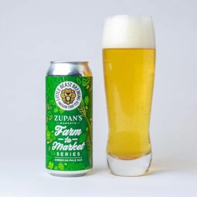 Zupan's Farm to Market beer next to poured glass