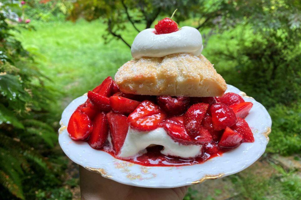 Strawberry Shortcake stuffed with fresh strawberries