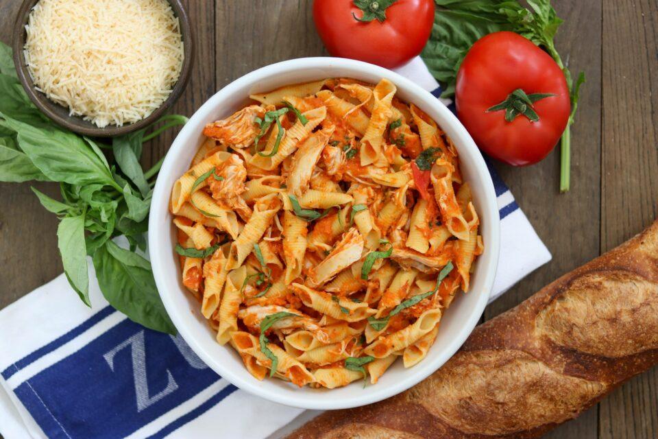 tomato chicken pasta from Zupan's markets