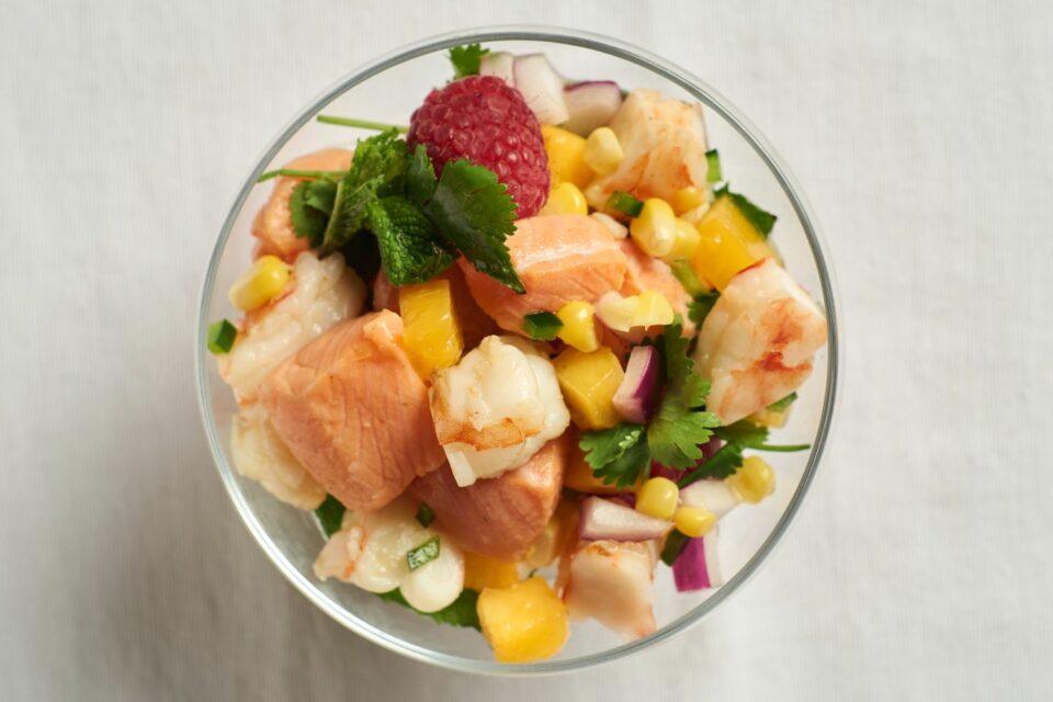 Steelhead ceviche with shrimp, raspberries, corn, and mint