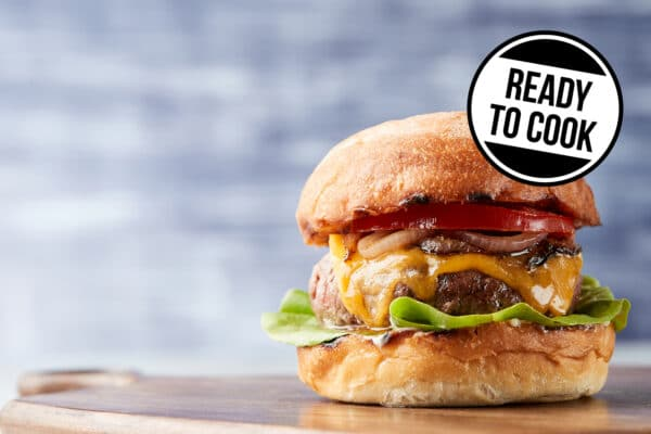 burger with a sticker that reads 'ready to cook'