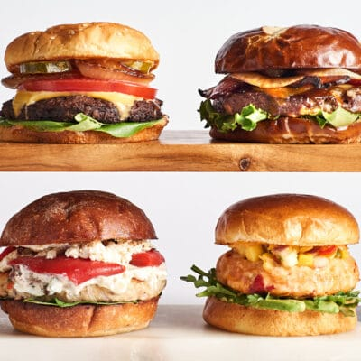 photo of 4 different types of burgers