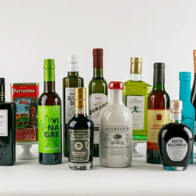 bottles of olive oil and vinegar lined up