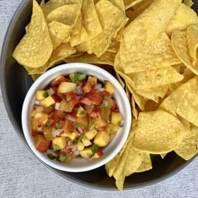 Peach salsa and chips from Zupan's Markets