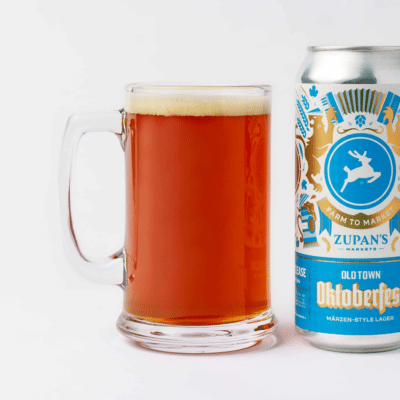 mug and can of Zupan's Oldtown Oktoberfest Lager