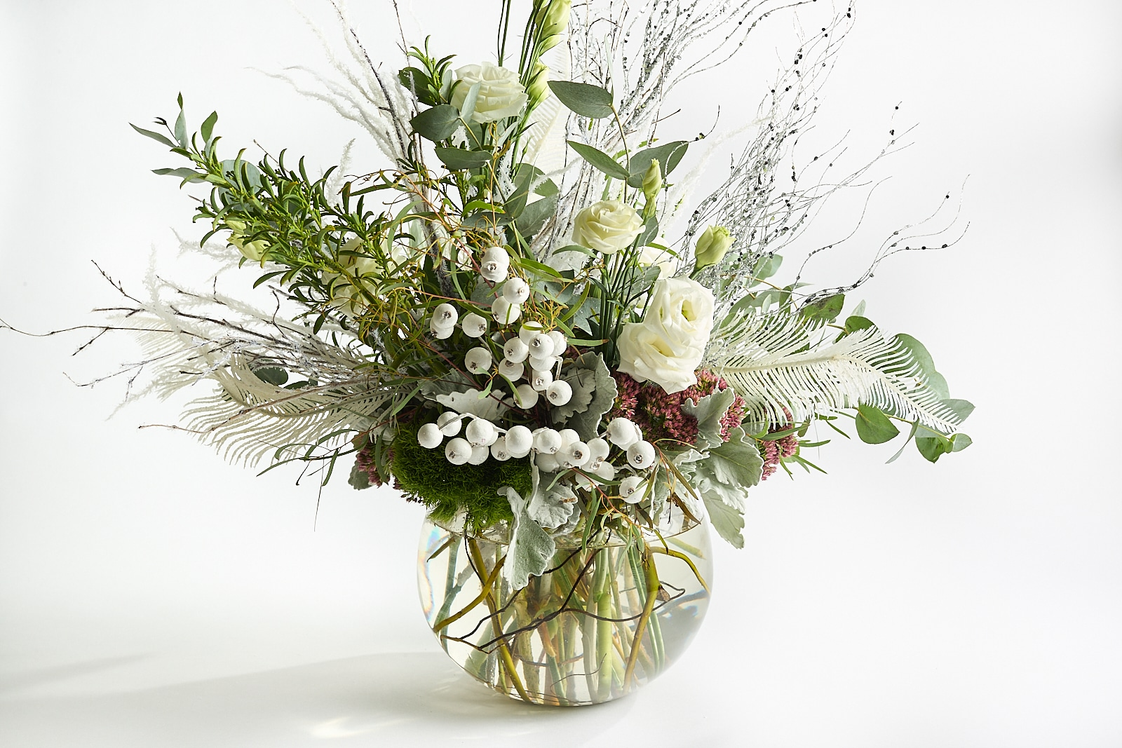 white and green October floral arrangement from Zupan's Markets