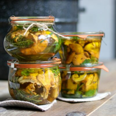 Marinated Chanterelle Mushrooms in glass canning jars